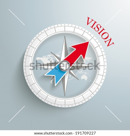 White compass with red text Vision on the grey background.  Eps 10 vector file. - stock vector
