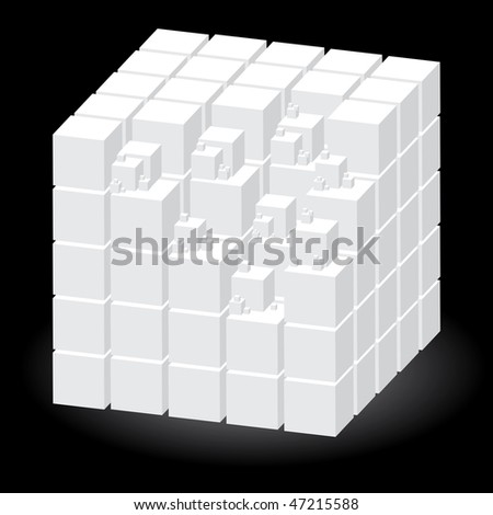 White construction set of cubes, vector illustration - stock vector