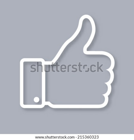 White contour of thumb up icon on gray background, vector logo  - stock vector