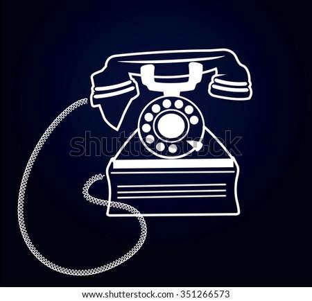 White contour retro phone on a black background. - stock vector