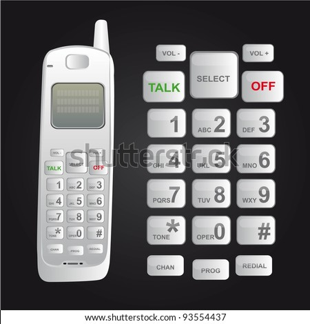 white cordless phone isolated over black background. vector - stock vector