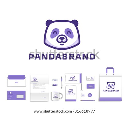 White corporate id template design with cute panda  logo. Documentation for business. Eps 10  - stock vector