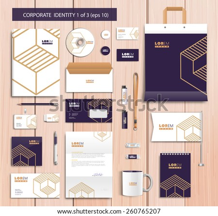 White corporate id template design with navy blue, gold abstract elements. Documentation for business. Eps 10 - stock vector