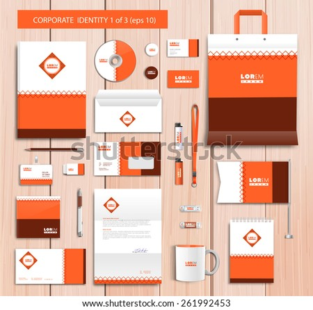 White corporate id template design with orange, brown abstract elements. Documentation for business. Eps 10 - stock vector