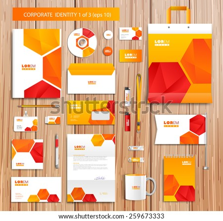 White corporate id template design with orange, red, yellow abstract elements. Documentation for business. Eps 10 - stock vector
