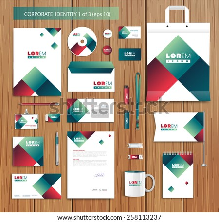 White corporate id template design with red, green, abstract elements. Documentation for business. Eps 10 - stock vector