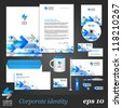 White corporate identity template with blue arrows. Vector company style for brandbook and guideline. EPS 10 - stock vector