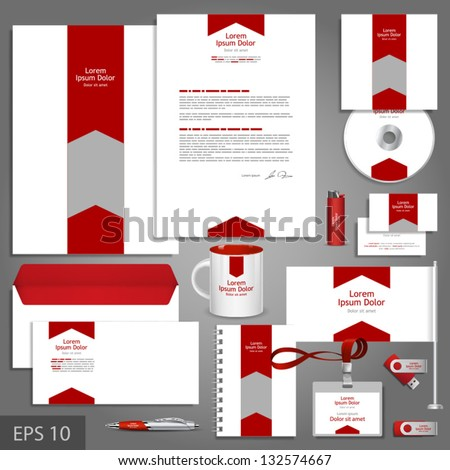 White corporate identity template with red arrow. Vector company style for brandbook and guideline. EPS 10 - stock vector