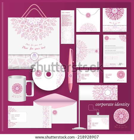 White corporate identity template with violet mosaic elements.Vector company style for brandbook and guideline. - stock vector