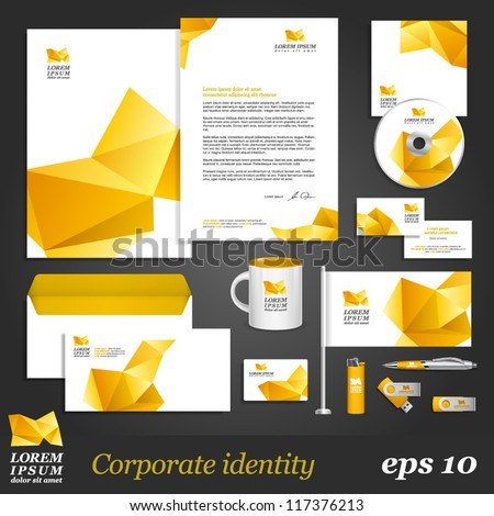 White corporate identity template with yellow origami elements. Vector company style for brandbook and guideline. EPS 10 - stock vector