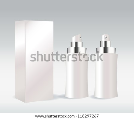 White cosmetic container for face cream, gel, serum or foundation - stock vector