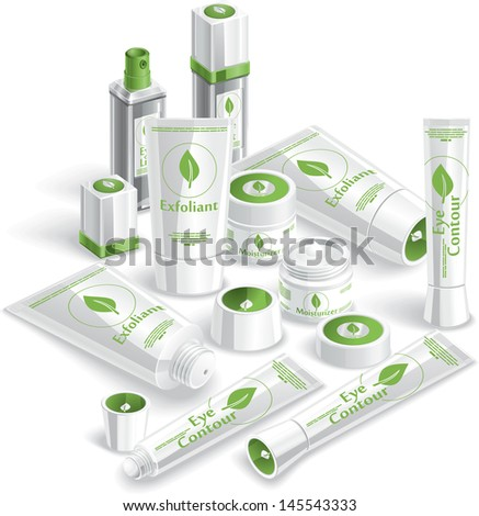 White Cosmetics Array - Vector illustration of various cosmetic products.  - stock vector