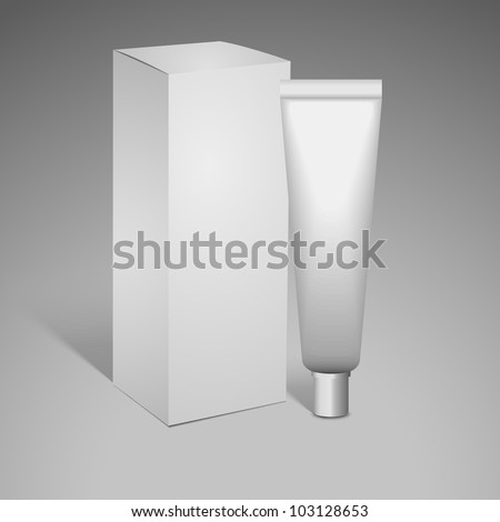 White cosmetics containers, tube with package, box - stock vector