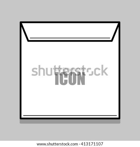 White  cover for compact disc. White envelope vector illustration. Thin line envelope. - stock vector