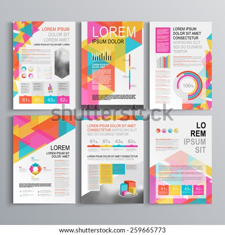White creative brochure template design with color pattern of triangles. Cover layout and infographics - stock vector