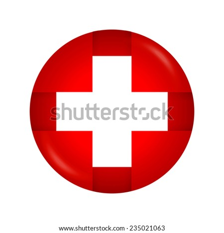 White cross. Medical symbol. Switzerland flag.Vector illustration  - stock vector