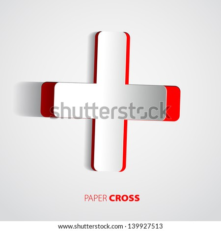 White cross with red back - sticker or card - vector - stock vector