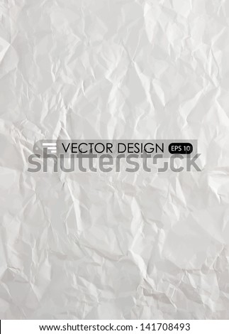 White crumpled paper.Vector illustration. - stock vector