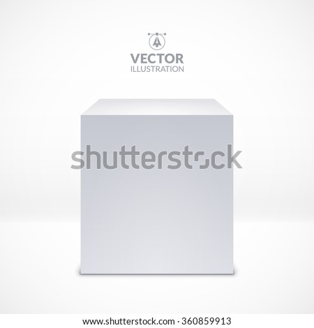 White cube. Realistic vector illustration - stock vector