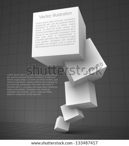 White cubes 3D. - stock vector