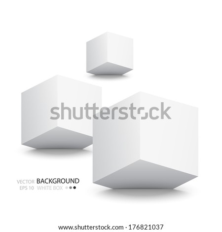 White cubes isolated on white background. Minimalistic composition with an inclined plane. The blank for website design, banner, presentation, report, printed products - stock vector