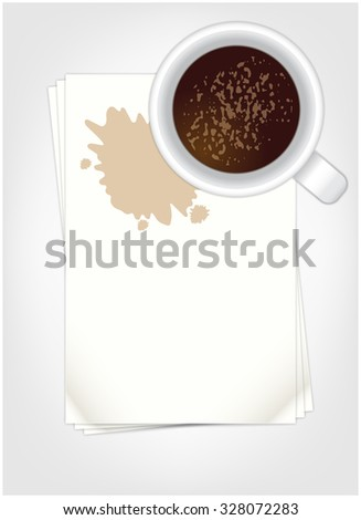 White cup of coffee on sheets to record - stock vector