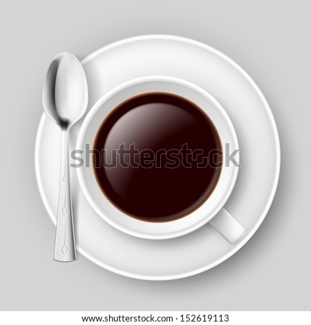 White cup of coffee with spoon on saucer. Illustration on grey.  - stock vector