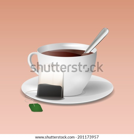 White cup of tea on saucer with spoon and teabag - stock vector