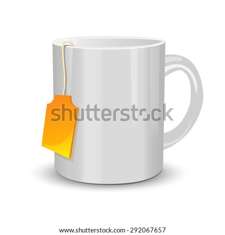 White cup of tea with label on white - stock vector