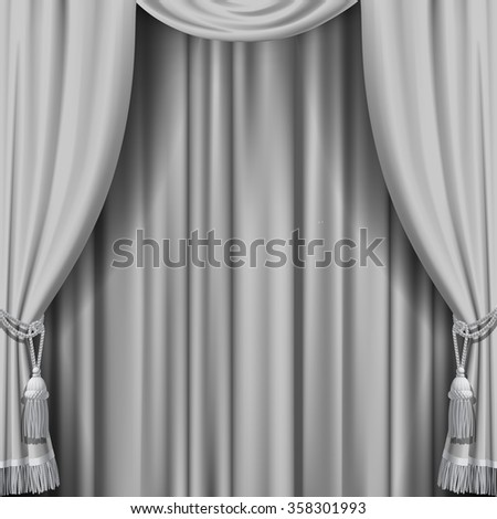 White curtain. Square theater background. Artistic poster. Vector illustration - stock vector