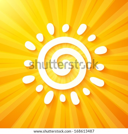 White cut out paper sun on yellow background - stock vector