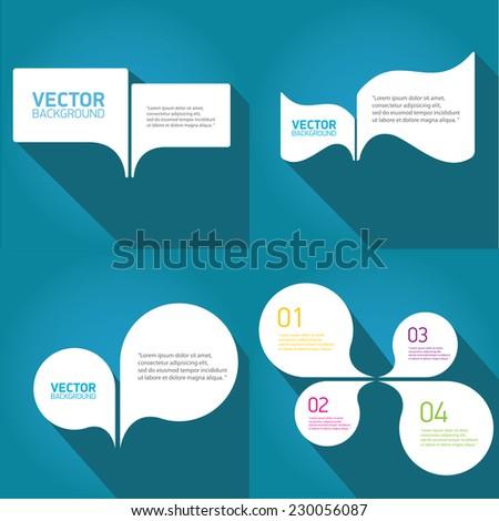 white cut paper speech bubbles on blue. speech bubbles set. vector illustration. - stock vector