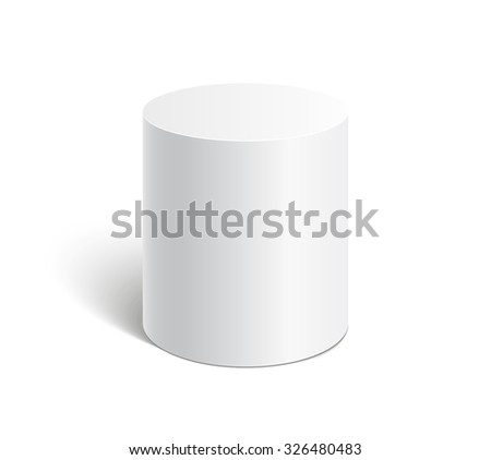 White cylinder stand isolated on white background. Platform, podium to advertise various objects. Vector illustration. - stock vector