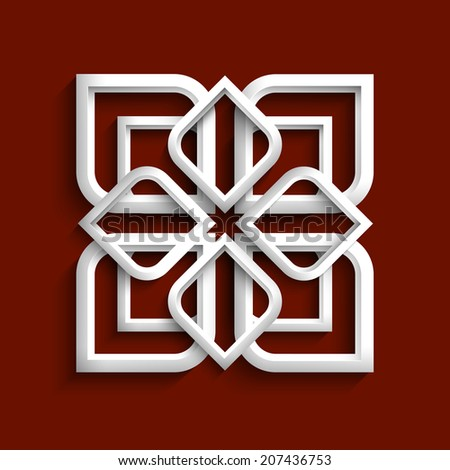 White 3d ornament in arabic style - variation 2.Vector EPS10 - stock vector