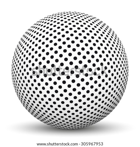 White 3D Sphere with Dotted Texture on White Background and Smooth Shadow - stock vector