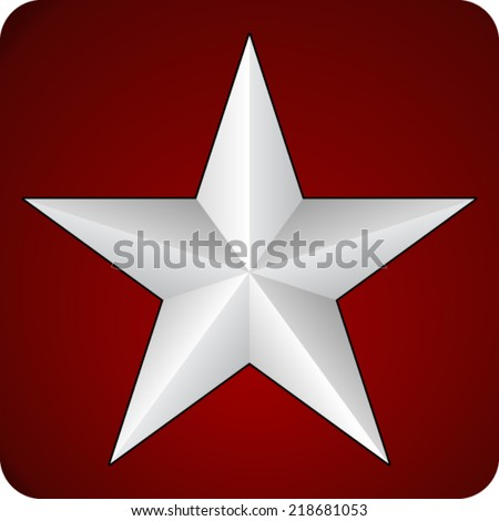 White 3d star on red background - stock vector
