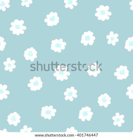 White daisies seamless pattern on a blue background. Daisy field - stock vector. Vector seamless pattern. Abstract background with round brush strokes. Monochrome hand drawn texture - stock vector