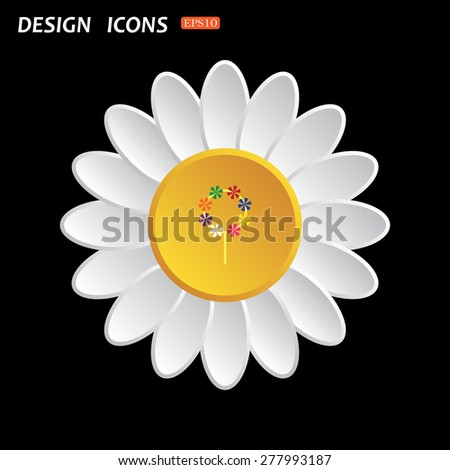 White daisy flower. Flat design style. Children's toy wind mill, turntables, pinwheel wind vane. icon. vector design - stock vector