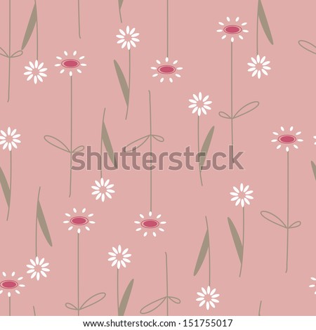 white daisy flowers background pattern - stock vector