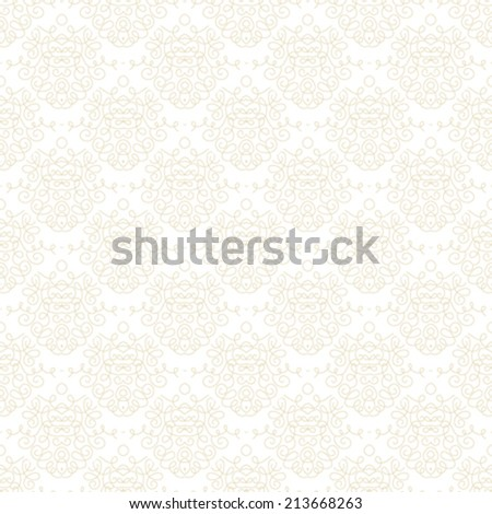 White damask texture with waving and curling shapes for Christmas and holiday decor or wedding invitation background. Seamless vector pattern for winter fashion - stock vector