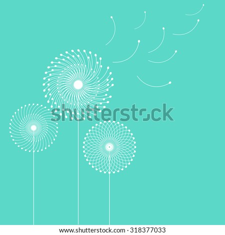 White dandelions on blue background - stock vector