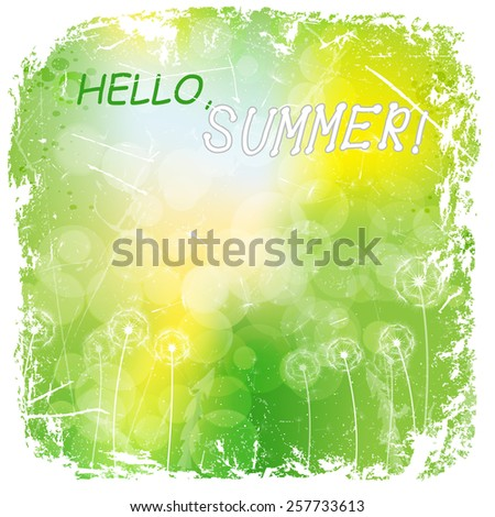 white dandelions on green background with white grunge frame.vector illustration - stock vector