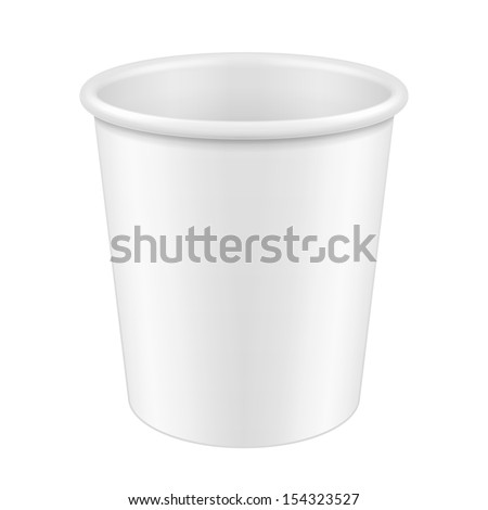 White Disposable Paper Cup. Container For Coffee, Java, Tea, Cappuccino, Dessert, Yogurt, Ice Cream, Sour Sream Or Snack. Ready For Your Design. Product Packing Vector EPS10 - stock vector