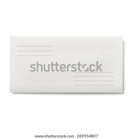 White DL envelope isolated - stock vector