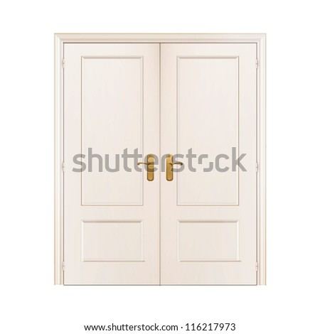 White door on isolated background. Vector design. - stock vector