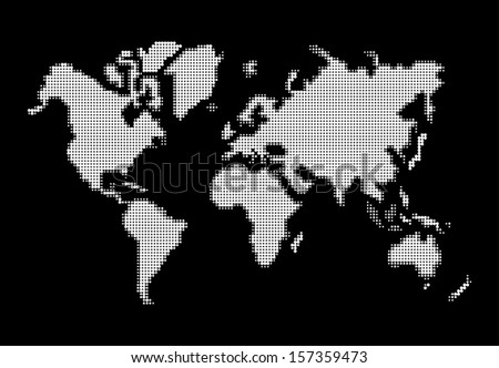 White dots World map shape. EPS10 vector file organized in layers for easy editing. - stock vector