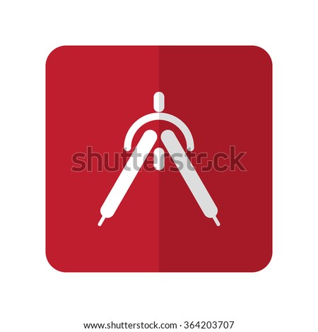 White Drafting Compass flat icon on red rounded square on white - stock vector