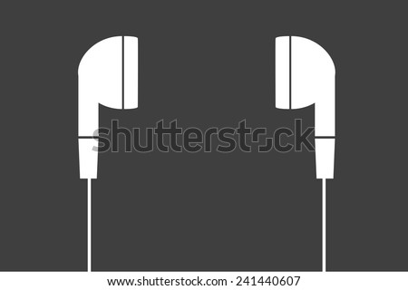 white earphones  vector - stock vector