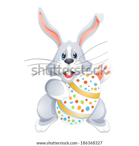 White Easter bunny  with  Egg - stock vector