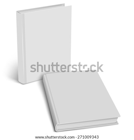White empty cover closed book mock up on a white background. Vertical and horizontal view. Vector illustration. Product mockup. Vector EPS10 - stock vector
